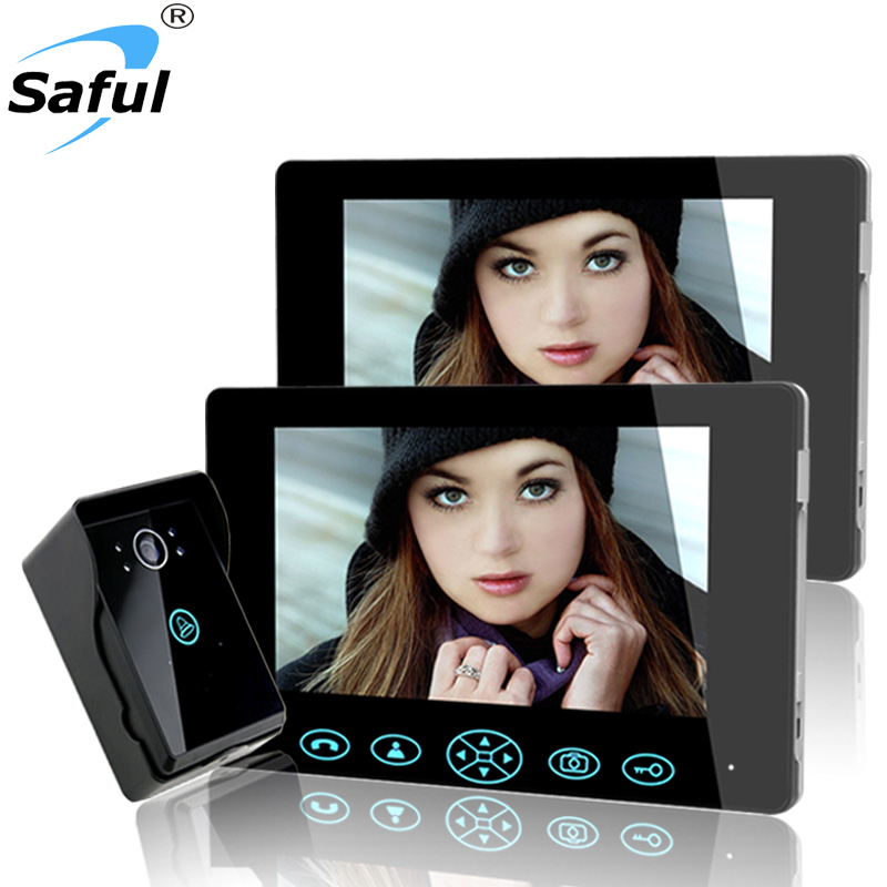 Saful Clear night vision 7 Video Intercom video Door Phone System With 2 Monitor 1 Doorbell Camera wireless unlock, hands-free 7inch 2 4ghz wireless intercom unlock video door phone with 3camera