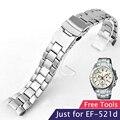 Sólido aço inoxidável relógio banda 22mm pulseira de relógio homens cinta fivela dobrável para casio ef-521d-4av ef-521d-2av ef-521d-7a + ferramenta