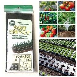 95cm*10m 5Holes 0.03mm Black Mulch Film Gardening Flower Vegetable Seedling Plants Plastic Perforated PE Film Mulching Membrane