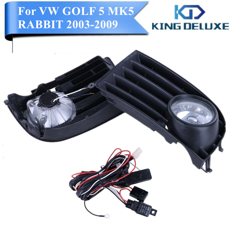 White Fog Light Grille Foglamps Grill Cover For VW Golf Rabbit Mk5 2003-2009 with Hardness Switch H3 Bulbs #P98 simulation mini golf course display toy set with golf club ball flag