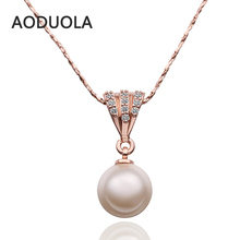 hot deal buy fine snake chain necklace with white crystal round pearls pendants necklace rose gold plated for women jewelry gift