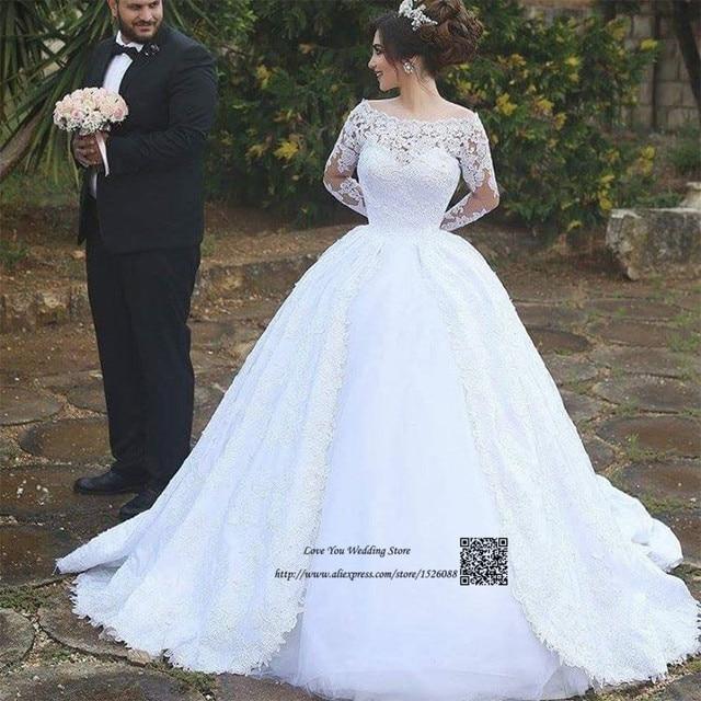 New Arrival Vestido Branco Long Sleeve Lace Wedding Dresses Turkey Arabic Bridal Dress 2017 Princess Gown Renda Gelinlik