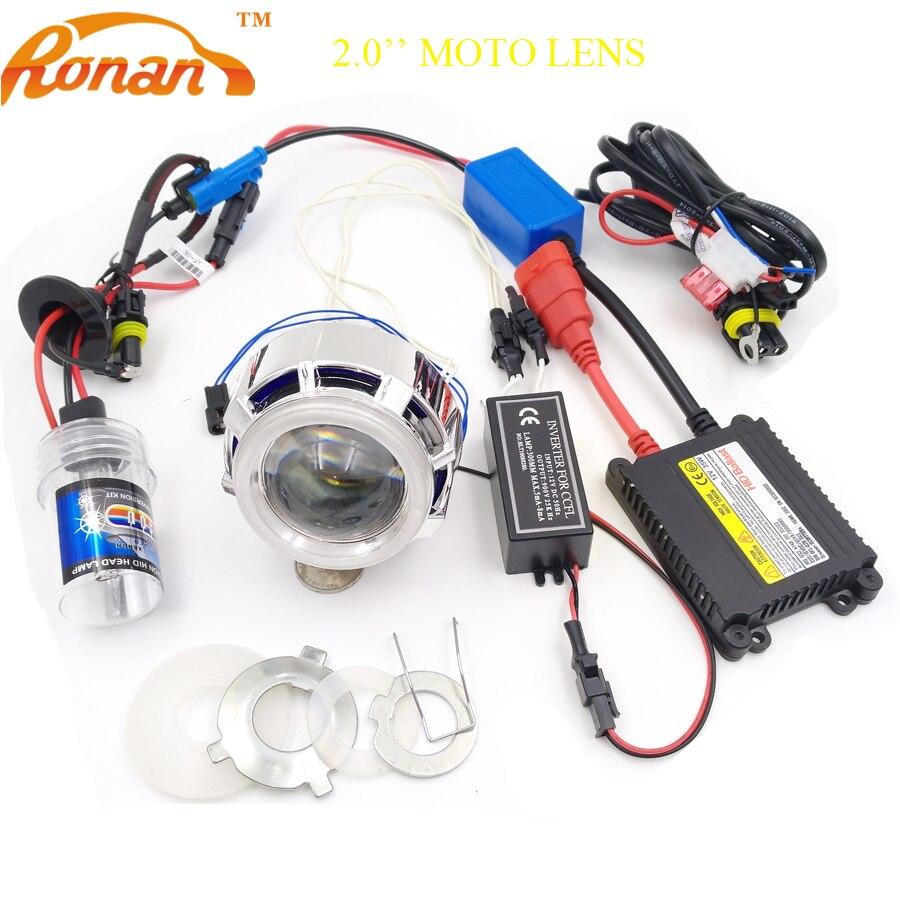 RONAN 2.0''Car Motorcycle Double CCFL Angel Eyes Bi Xenon HID Projector Lens full kit for H4 H7 car Headlight fog light Retrofit motorcycle bi xenon hid projector lens kit