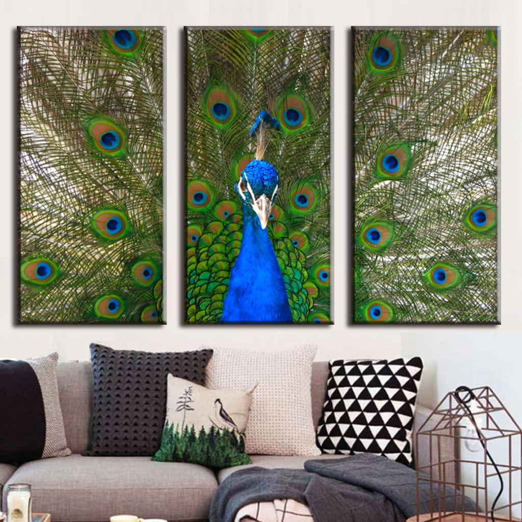 Buy 3 pcs set large canvas paintings for Peacock wall art