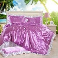 Satin Silk Duvet Cover Set Luxury Summer Style Bedding Set For Wedding Black White Blue Purple