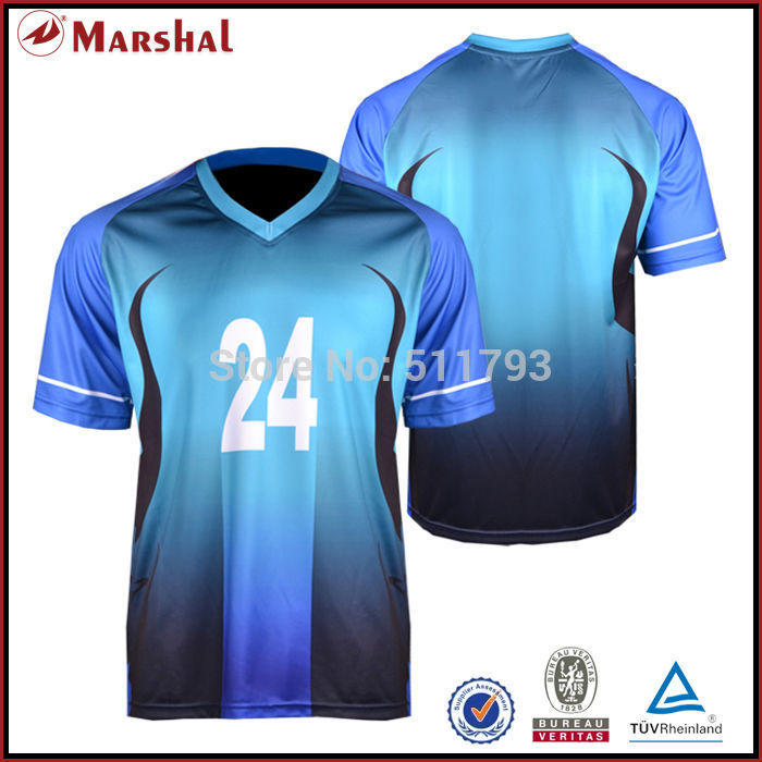 Wholesales football t shirts custom design sublimated in stock football  uniforms New Design Sulbimation Printing Top Quality 3a27d2d0c