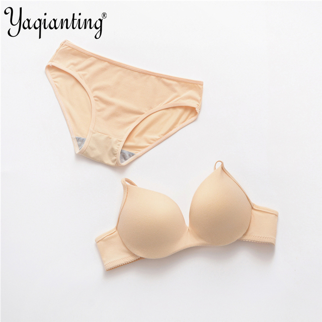 New Sexy young girl 100% cotton solid color smooth bra set Solid color underwear bra brief sets brassiere Intimates