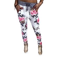 Trend Lady Rose Print Casual Pants Spring Autumn Full Length Knit Cotton Gray White Patchwork Pockets High Waist Drawstring slogan print drawstring waist pants