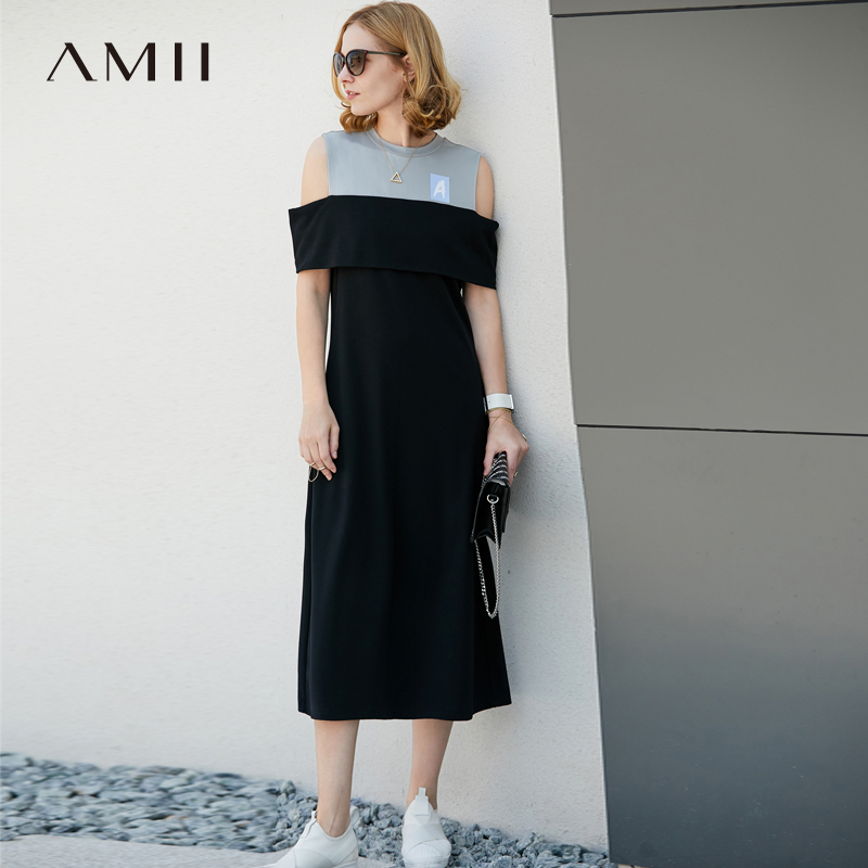 Amii Women Minimalist Summer Dress 2018 A Line Contrast Color Off Shoulder Mid Calf Female Dresses