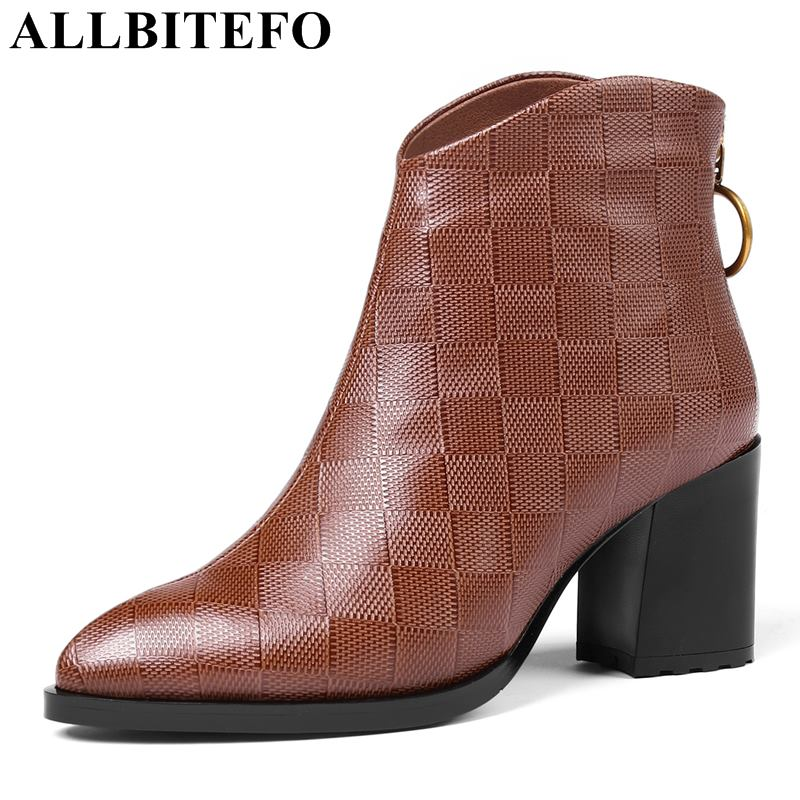 ALLBITEFO genuine leather thick heel women boots fashion casual brand high heels ankle boots women motorcycle boots winter shoesALLBITEFO genuine leather thick heel women boots fashion casual brand high heels ankle boots women motorcycle boots winter shoes