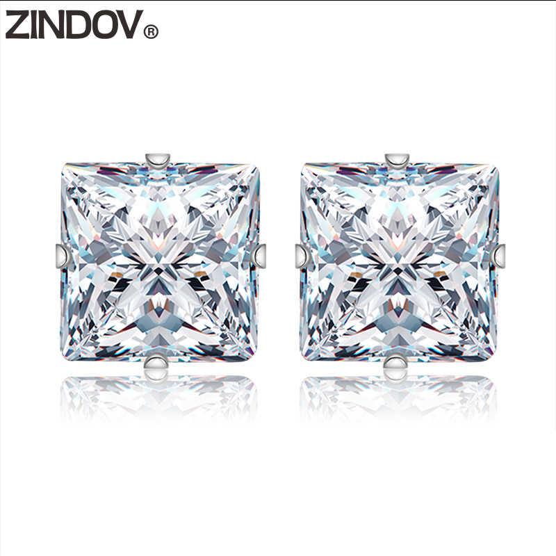 64074b860 ZINDOV Square Stud Earrings Women Men Cubic Zirconia Stainless Steel  Jewelry Pink Black CZ Stud Earrings