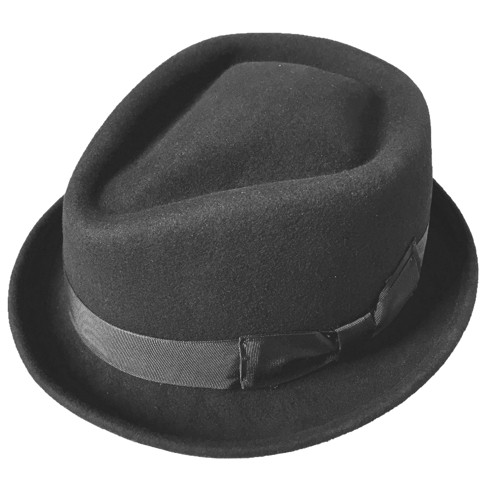 cf095238 Sombrero Fedora de fieltro de lana negra y marrón-corona de diamante