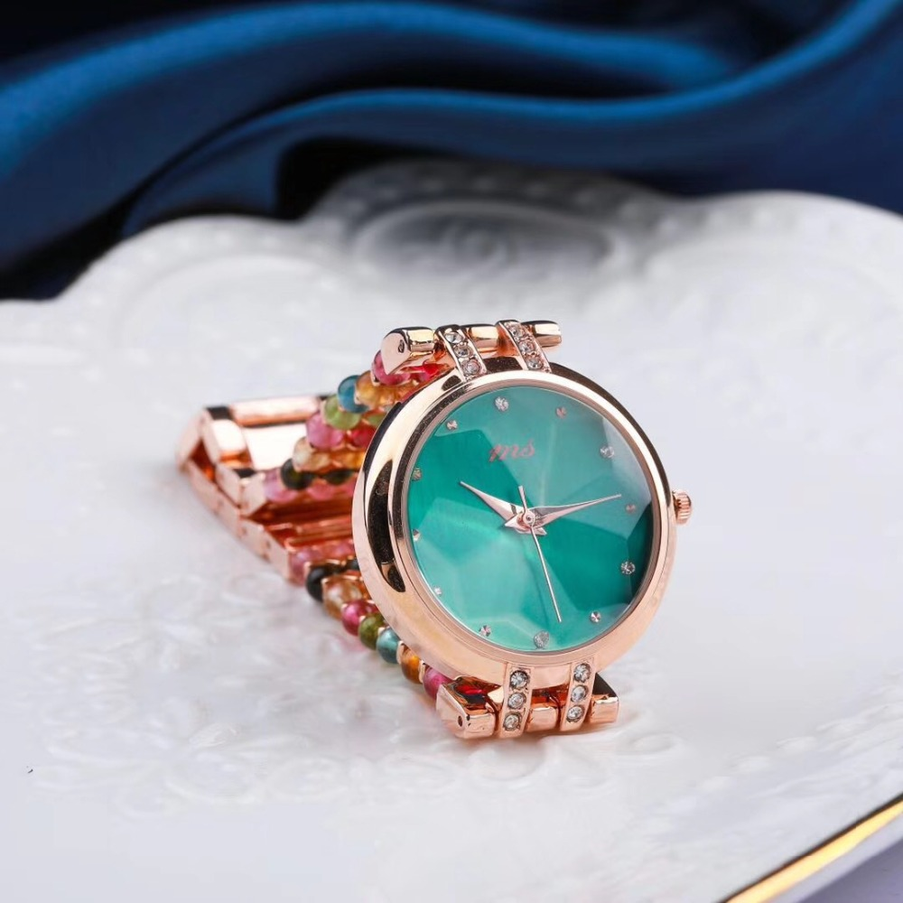 natural tourmaline stone bracelet 33mm watch DIY jewelry for woman waterproof watch for summer beach wholesale