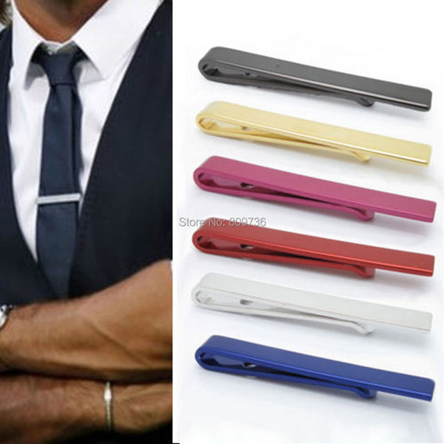 42e061bf0745 Shiny Plain Solid Stainless Steel Tie Clip Bar 4.3cm Men Boy Clasp Pin Men's  Clothing Accessories Hot Wholesale Free