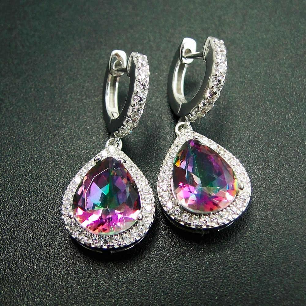 81329164bab Mystic Topaz Colorful Stone Earrings Beautiful Woman Brinco Dangle Earrings  Fashion 925 Sterling Silver Water Drop