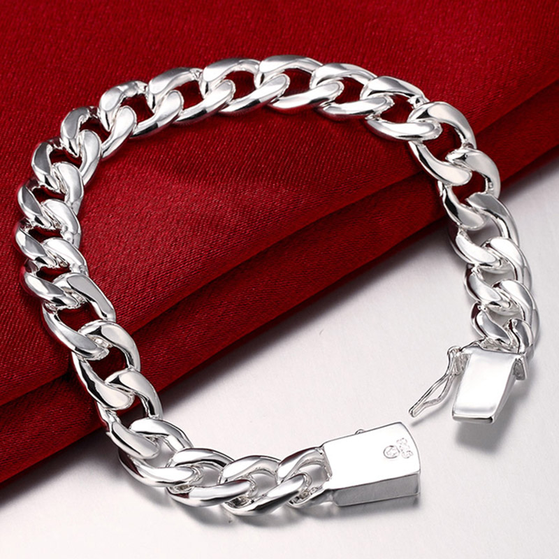 13b4a5210fabb New High-Quality Women Men Noble 925 Stamp Silver Bracelets Fashion Jewelry  Gifts Men 10MM