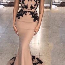 Party Gowns Prom-Dress Evening-Dresses Champagne Satin Appliques Lace Mermaid The-Shoulder