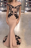 Champagne Long Satin Mermaid Evening Dresses Long 2019 Black Lace Appliques Off the Shoulder Formal Party Gowns Dubai Prom Dress