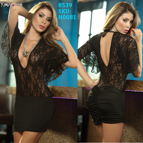 2014 New Fashion Women Sexy Full Lace Babydoll and Chemise Night wear Sexy Lingerie Dress 8539