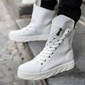 2016 Designer de Outono Inverno Homens Alta Top Calçados de Moda Ankle Boots de Couro Branco Sapatos Casuais Ao Ar Livre Masculino Homens Trainers90