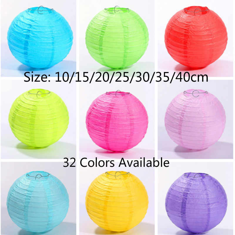 10-15-20-25-30-35-40cm Chinese Round Paper Lantern Ball Wedding Party Kids Birthday Party Christmas Decoration Babyshow Supplies