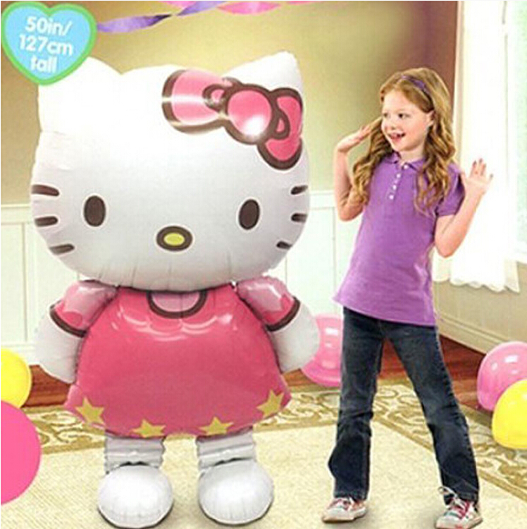 116 * 65cm Storleksanpassad Hello Kitty Cat folieballonger cartoon - Semester och fester