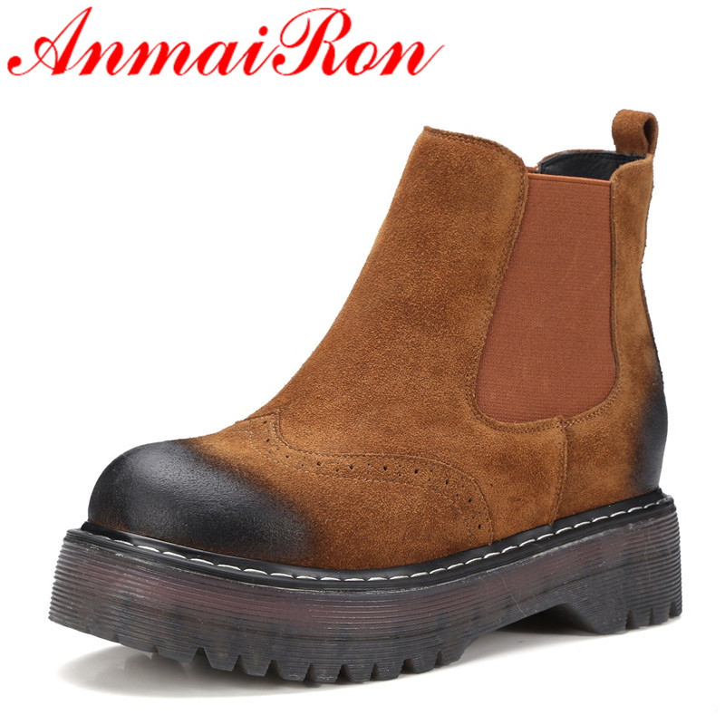 ANMAIRON Ankle Boots for Women Round Toe Slip-on Flats Shoes Woman Size 34-39 Classic Black Platform Shoes Autumn & Winter Boots