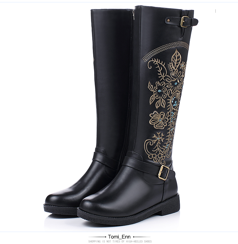 Women Winter Full Grain Leather Short Plush Thick Warm Knee High Boots Genuine Leather Fashion Embroidery Flowers Long Boots 6