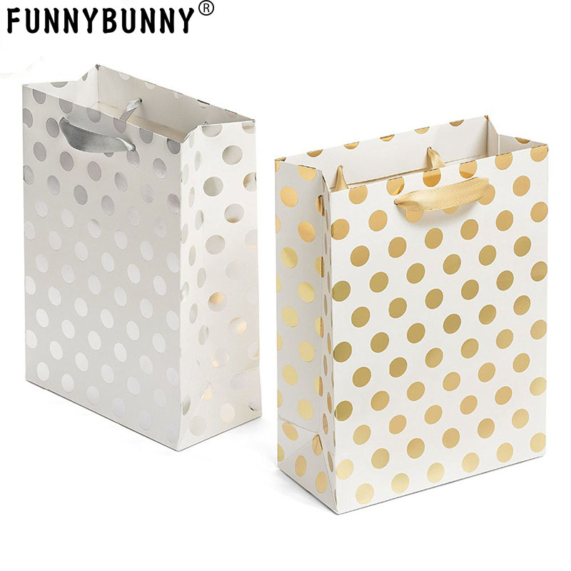 FUNNYBUNNY Gift Bags Set With Ribbon Handles  Gold And  Silver Gift Bags Perfect For Weddings, Birthday And Holiday Presents