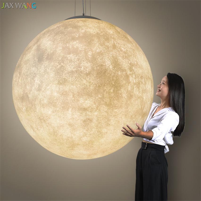 JW_Nordic Creative Moon Lamp Ball Pendant Lights Resin