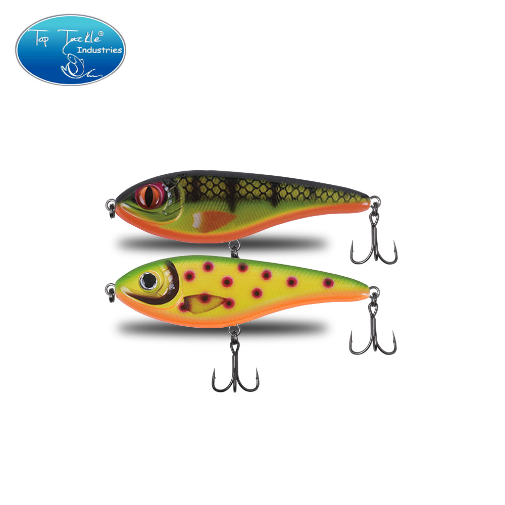 90mm 21g Color 001 To 035 Sinking Muskie Pike Jerk Bait  Hard Fishing Lure Jerkbait With Strengthen Treble Hooks