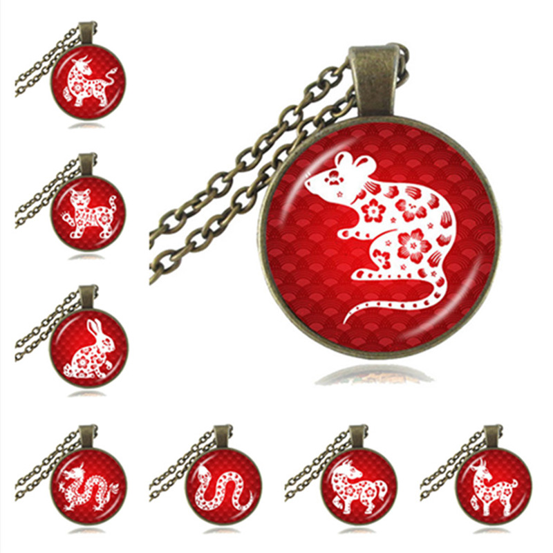 The Chinese Zodiac Pendant Necklace 12 Animal Jewelry Year of the Snake Horse Sheep Monkey Dog Picture Bronze Sweater Necklace