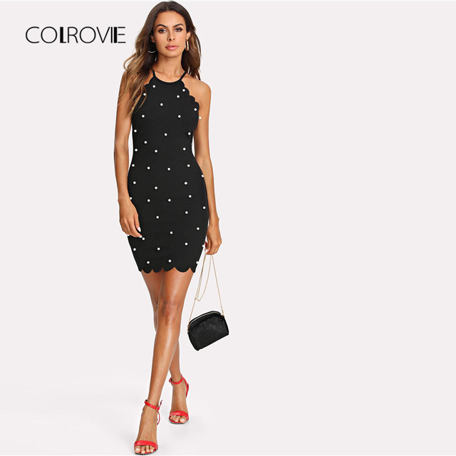 19166d60a0b Pearl Beading Scalloped Halter Dress New Black Sleeveless Bodycon Dress  Short Zipper Dress