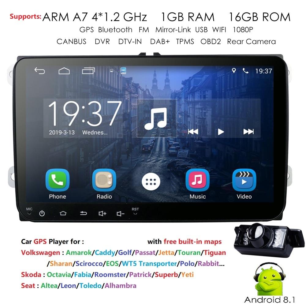 Hizpo 2 Din Android 8.1 GPS Navigation 16G ROM sans DVD autoradio BT USB pour Skoda Volkswagen VW Passat B6 Polo Golf 4 5 Touran