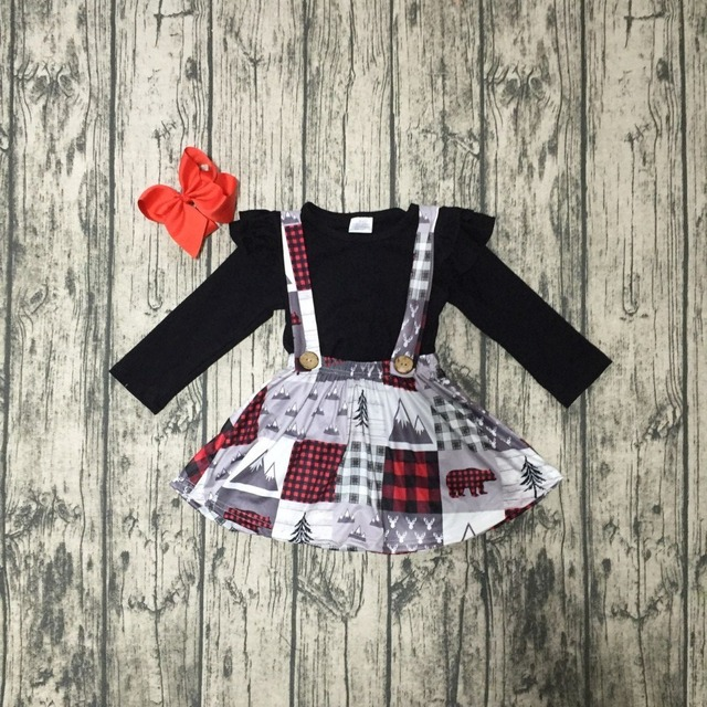 סתיו/חורף תינוק בנות בגדי כותנה הלטר למעלה שחור אפור חג המולד עץ כפתור רצועות שמלת בוטיק התאמה סלסולי קליפ קשת
