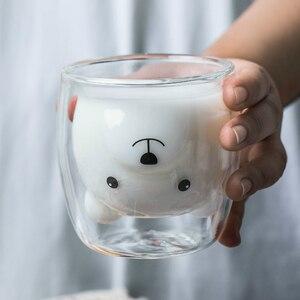 Image 1 - 250ML yaratıcı ayı kahve kupa sevimli hayvan çift cam kahve fincanı karikatür şeffaf süt kupalar bayan kahve fincanları çocuk hediye
