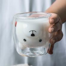 250ml criativo urso caneca de café bonito animal duplo copo de café de vidro dos desenhos animados canecas de leite transparente senhora copos de café criança gife