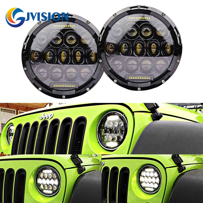 75W Headlamp 7 Inchs Motorcycle led headlight with DRL for Jeep Wrangler JK TJ FJ Cruiser Trucks Off Road lights jk wrangler headlights 7 inch round led headlight conversion kit drl light assembly for jk tj hummmer trucks motorcycle headlamp