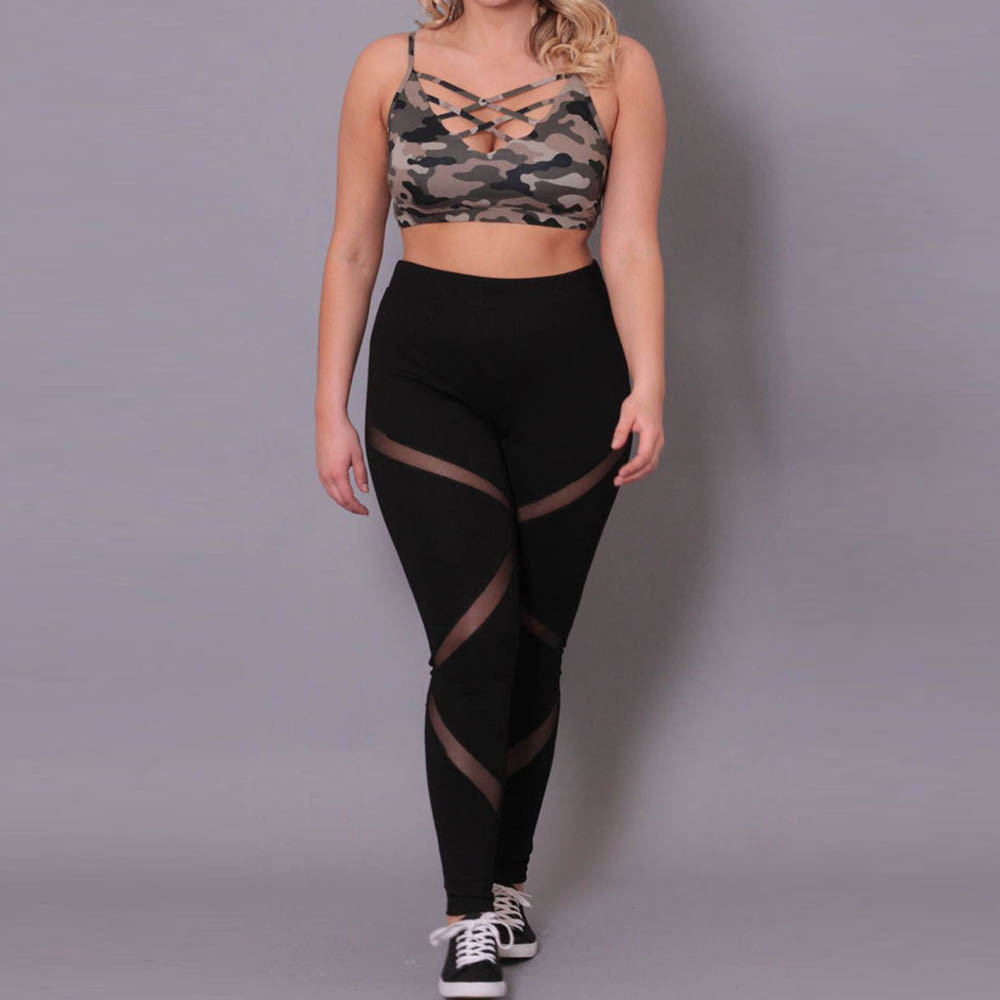 New Plus Size XXL XXXL 4XL Solid Women   Leggings   Mesh Patchwork School Exercise Leggins Female Elastic Pant Capri Women