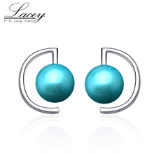 Natural freshwater pearl earrings for women,customized colorful round pearl earrings 925 silver for christmas gift цена в Москве и Питере