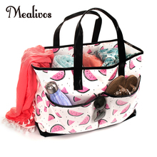 Mealivos watermelon Summer Women Canvas waterproof Shoulder Beach Bag Female Casual Tote Shopping Big floral Messenger Bags
