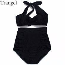 Trangel 2017 new Sexy Bikini Vintage Padded Swimwear Women High Waist Swimsuit Push up Bikini set wrinkle Halter Bathing Suit