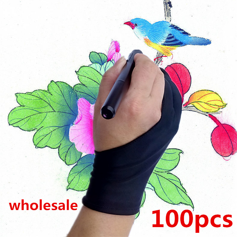 100pcs wholesale artist glove for drawing Black 2 finger anti fouling painting digital tablet writing glove