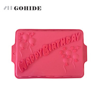 Special Offer Happybirthday Birthday Cake Mold Silicone Baking Bread Pan Rectangular