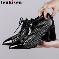 Lenkisen European British style high heels lace up natural leather zipper shallow pumps high quality office lady daily shoes L53
