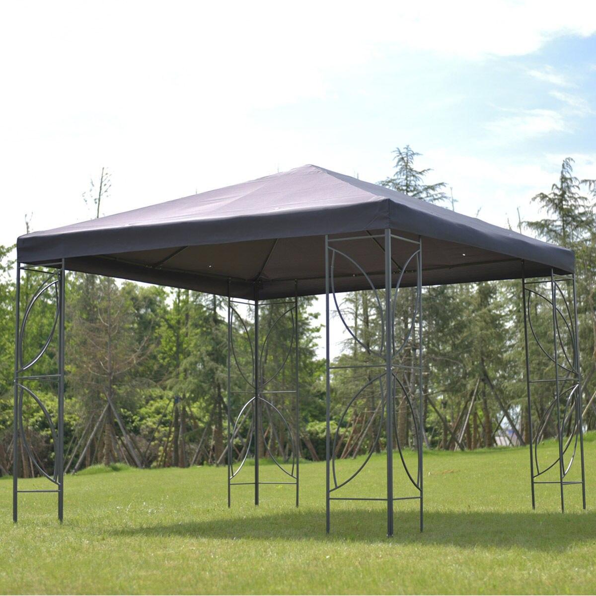 Goplus Patio 10\' X 10\' Square Gazebo Canopy Tent Steel Frame Shelter ...
