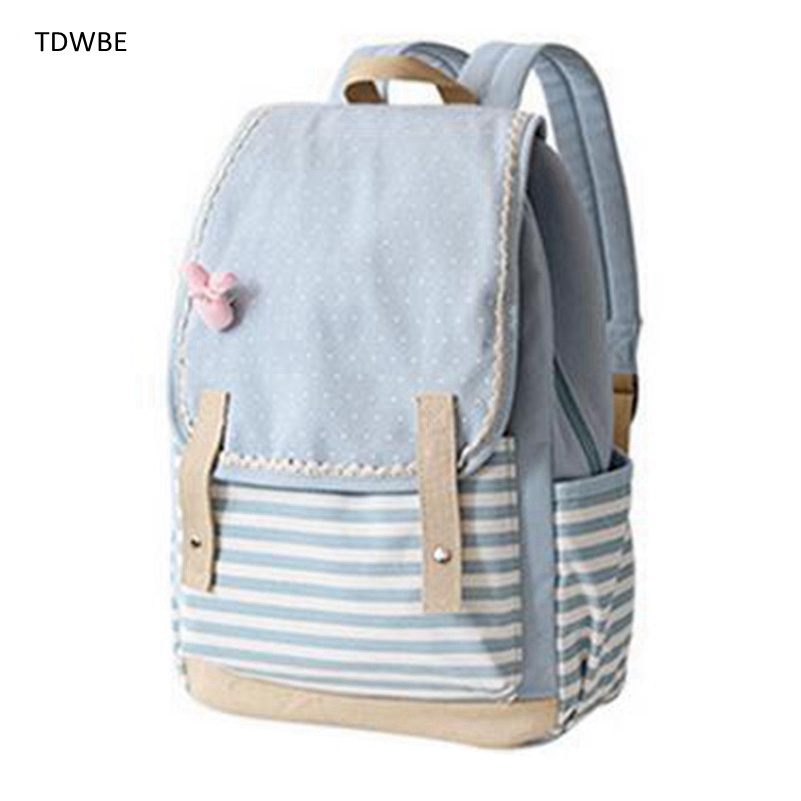 Japan and Korean Style Canvas Backpack Fresh Dot Striped Teenagers Girls Travel Bag Laptop Backpacks withy Cute Pink Bow Rabbit wilicosh brand preppy style women backpack canvas school bag for teenagers girls cute cat bag travel accessories backpacks wl113