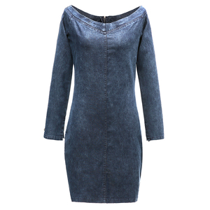 Image 5 - Conmoto סקסי כבוי כתף ג ינס שמלת נשים 2019 חורף ארוך שרוולים מזדמן קצר רזה מיני שמלת Bodycon Vestidos