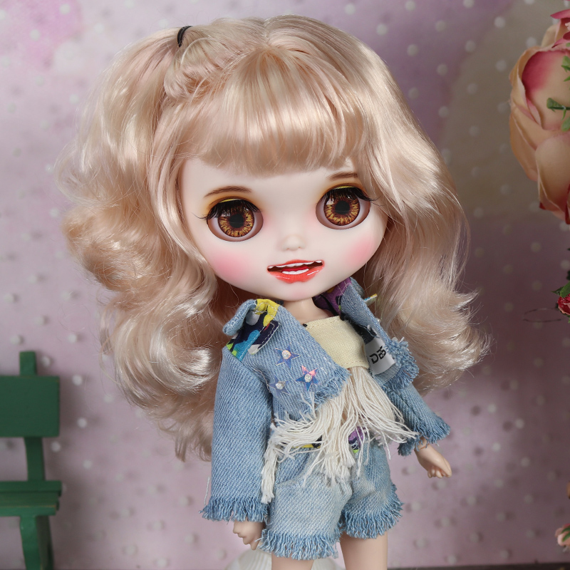 ICY blyth doll hand painted matte face white skin cute golden curls hair suit doll with
