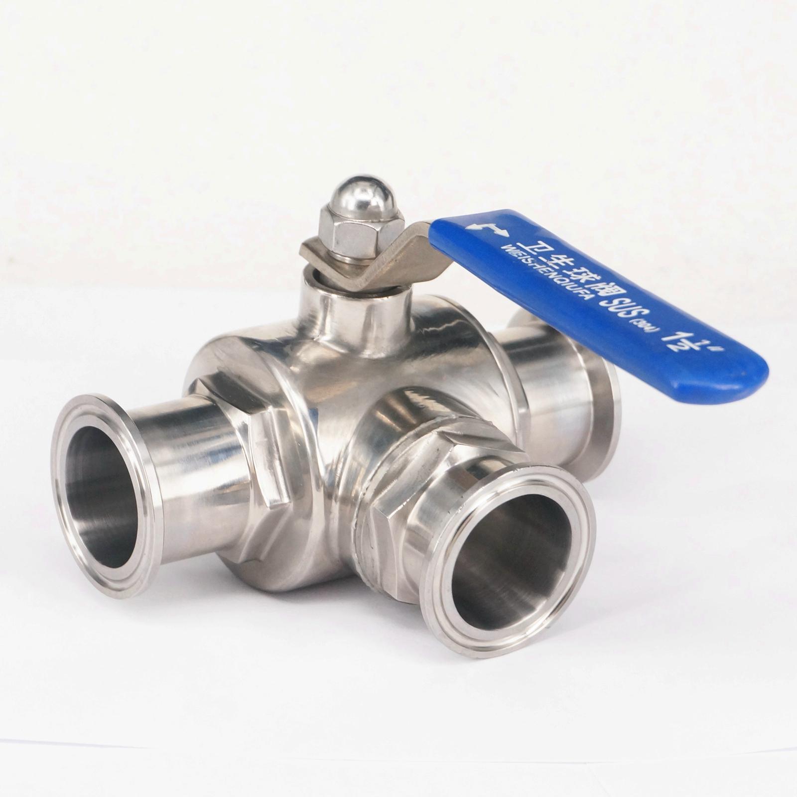 1-1/2 38mm 304 En Acier Inoxydable Sanitaires 3 Façon L port Ball Valve 1.5 Tri Clamp Bague Type Pour Homebrew Journal Produit